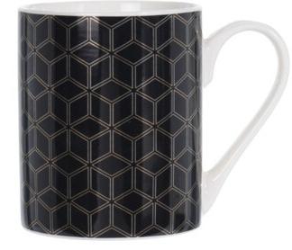 Porcelánový hrnek černý se zlatým ornamentem A, 300 ml