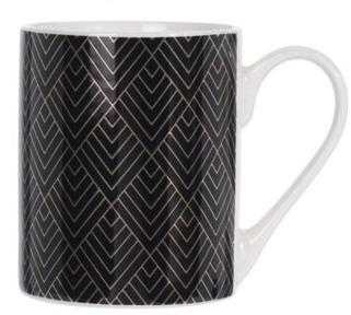 Porcelánový hrnek černý se zlatým ornamentem B, 300 ml