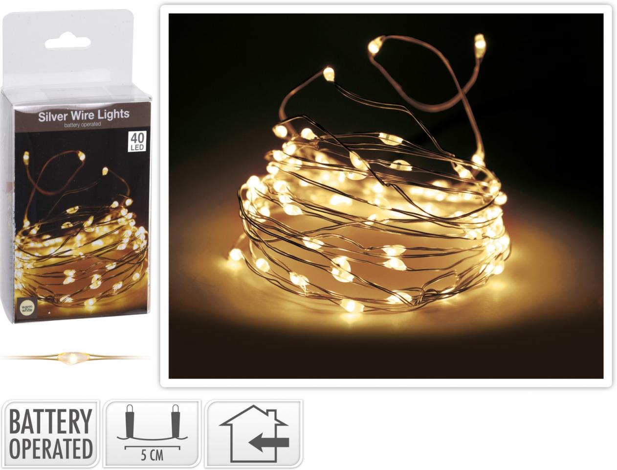 Světelný řetěz 200 cm, 40 LED teplé bílé světlo