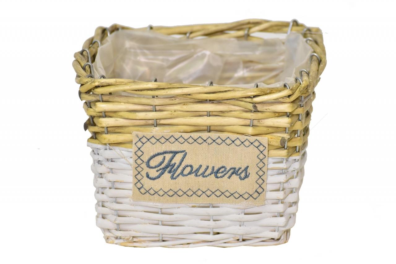 Proutěný košík Flowers 14x19,5x18,5 cm