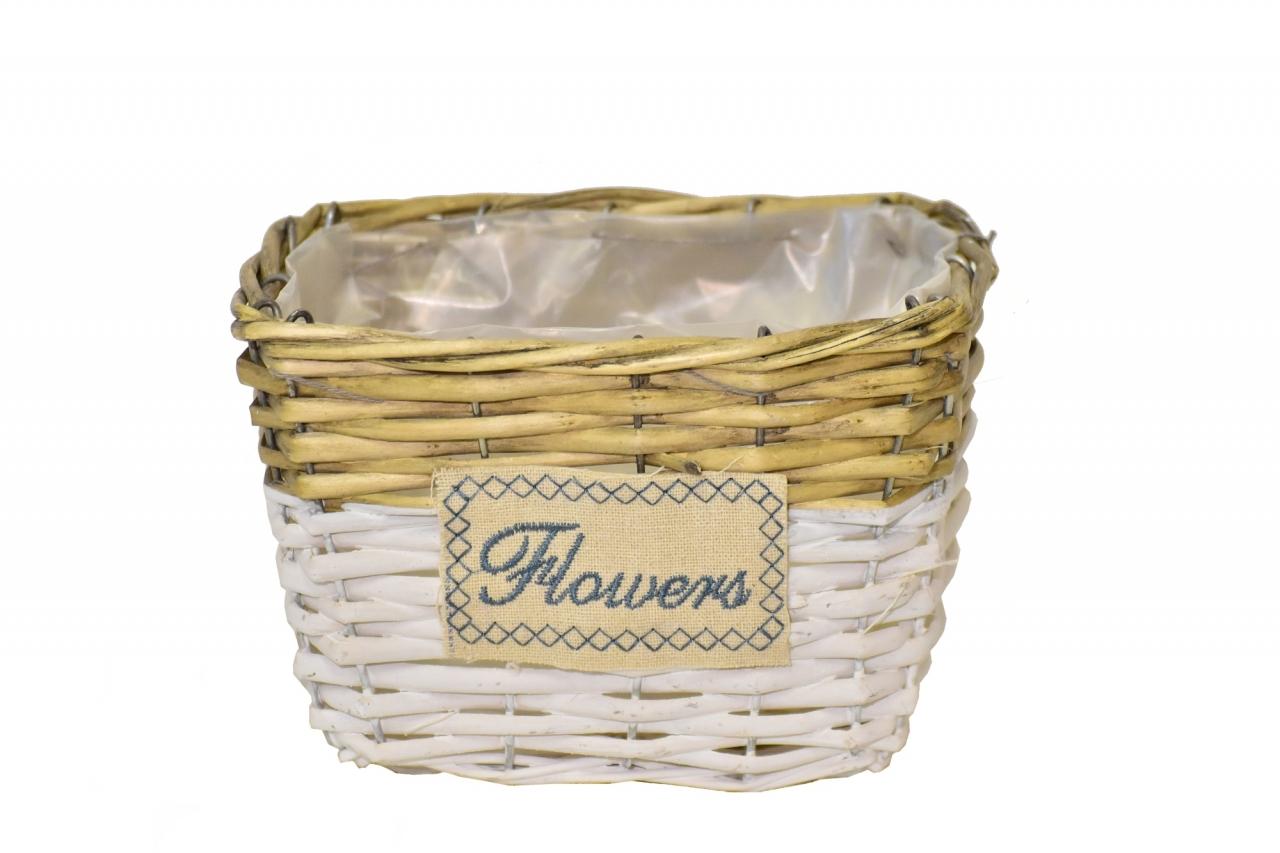 Proutěný košík Flowers 12,5x18x12,5 cm