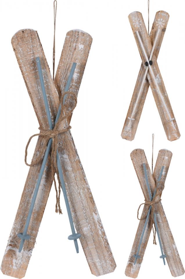 Dekorativní dřevěné lyže 56x27x18 cm, mix barev
