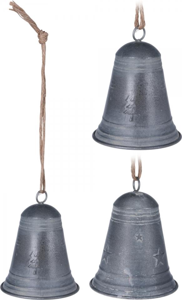 Kovový zvonek šedý 16x12,5 cm, mix druhů