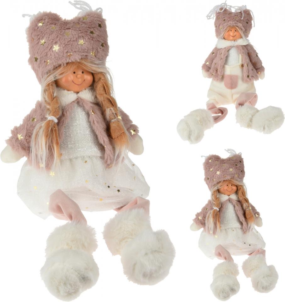 Sedící látková figurka holka, kluk 50 cm, starorůžová