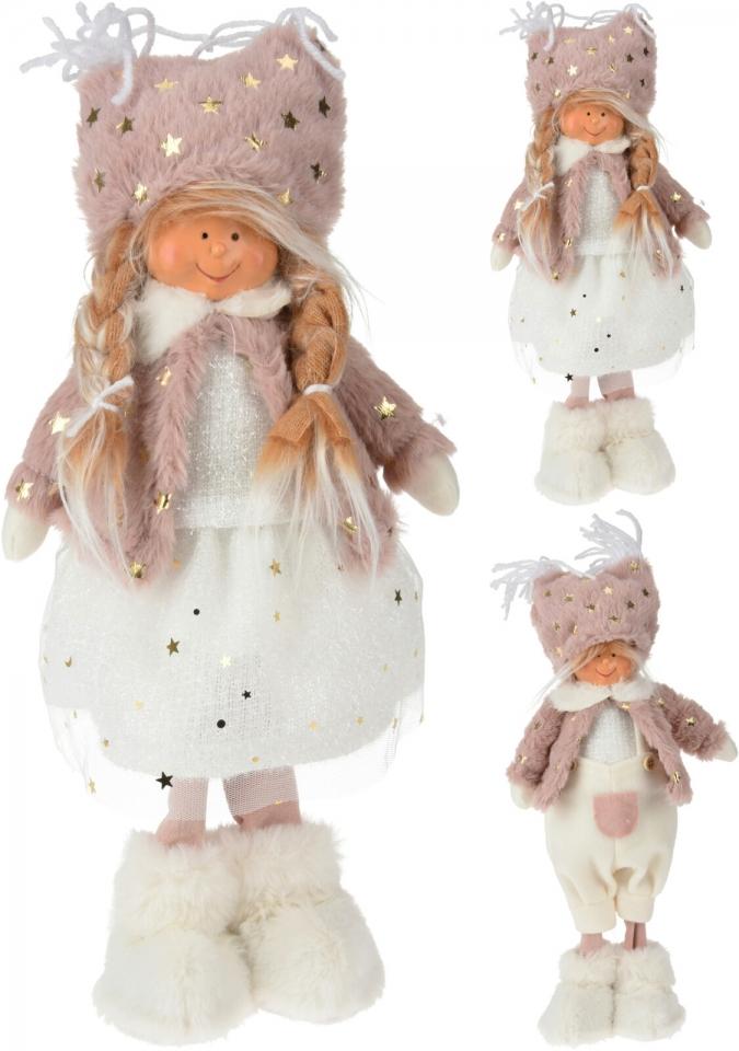 Látková figurka holka, kluk 37 cm, starorůžová