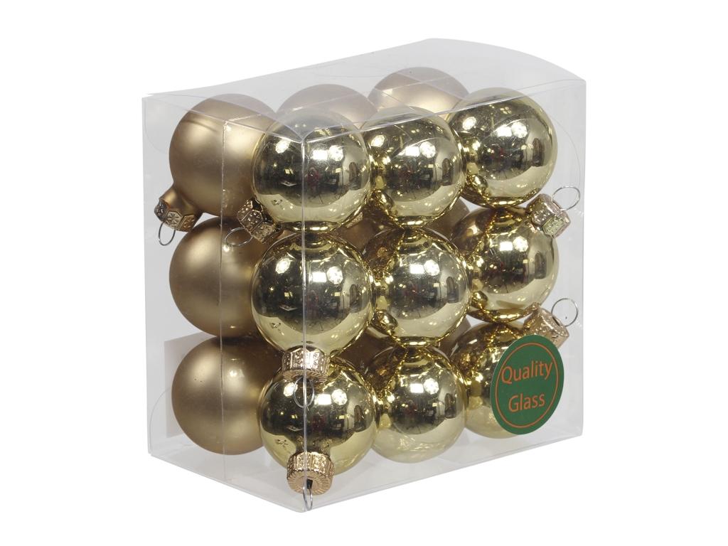 Skleněné baňky zlaté 3 cm, sada 18 ks