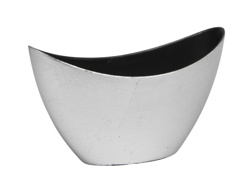 Stříbrný plastový květináč loďka 14,5x10x24 cm