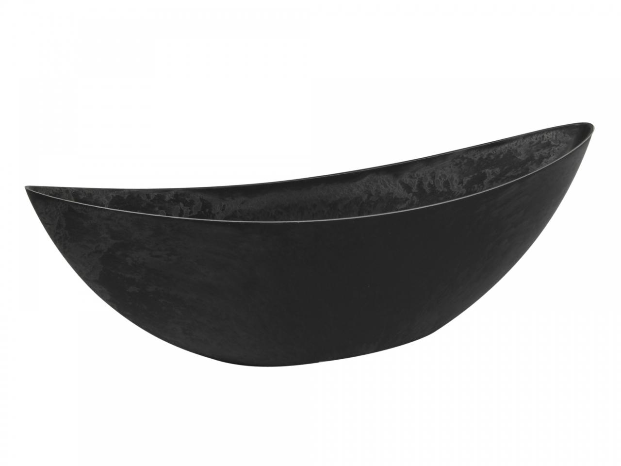 Šedý plastový květináč loďka 13x12,5x39 cm