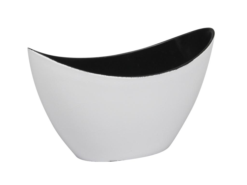 Bílý lesklý plastový květináč loďka 20x9x12 cm